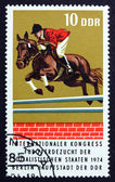Postage stamp GDR 1974 Thoroughbred Hurdling, Race Horse — Stock Photo