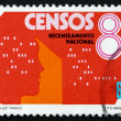 Postage stamp Portugal 1981 Census Form and Head — Stock Photo