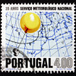 Postage stamp Portugal 1971 Weather Balloon and Weather Map - Stock Photo