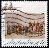 Poštovní známka austrálie 1990 zlatá, zlatá horečka — Stock fotografie