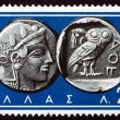 Postage stamp Greece 1959 Athena and Owl, Ancient Greek Coins — Stock Photo