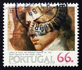 Selo postal portugal 1984 cabeça de jovem, domingos sequeira — Fotografia Stock