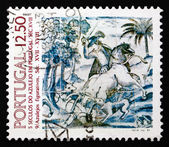 Postage stamp Portugal 1983 Hunting Scene, 1680, Decoration — Stock Photo