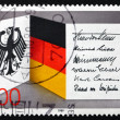 Postage stamp Germany 1989 National Crest and Flag - Stock Photo