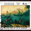 Postage stamp France 1982 Embarkation for Ostia by Claude Gellee - Stock Photo