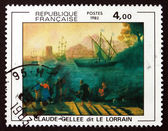 Postage stamp France 1982 Embarkation for Ostia by Claude Gellee — Stock Photo