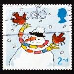 Postage stamp GB 2001 Robins and Snowman, Christmas — Stock Photo