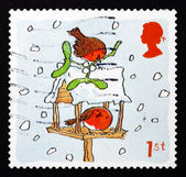 Postage stamp GB 2001 Robins and Birdhouse, Christmas — Stock Photo