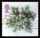 Postage stamp GB 2002 Spruce Branches, Christmas — Stock Photo