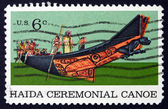 Postage stamp USA 1970 Tlingit Chief in Haida Ceremonial Canoe — Stock Photo