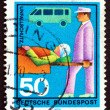 Постер, плакат: Postage stamp Germany 1970 Stretcher Bearer Casualty and Ambula