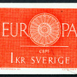 Stock Photo: Postage stamp Sweden 1975 19-Spoke Wheel, CEPT