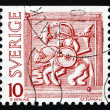Stock Photo: Postage stamp Sweden 1975 Horseman, Helmet Decoration