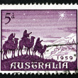 Postage stamp Australi1959 Approach of Magi, Christmas — Stock Photo #25366741