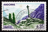 Postage stamp Andorra 1961 Gothic Cross, Meritxell — Stock Photo
