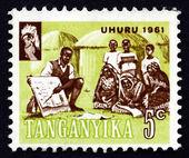 Postage stamp Tanganyika 1961 Teacher Instructing Villagers — Stock Photo