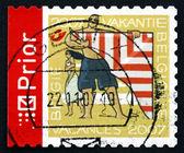Selo postal bélgica 2007 mulher e homem com kite — Foto Stock