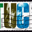 Stock Photo: Postage stamp GB 1968 Letters TUC and Faces