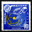 Foto Stock: Postage stamp Russi1961 Space Probe and its Path to Venus