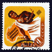 Postage stamp Russia 1961 African Breaking Chains and Map — Stock Photo