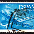 Stock Photo: Postage stamp Spain 1956 Plane and Caravel