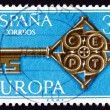 Postage stamp Spain 1968 Golden Key with CEPT Emblem — Stock Photo