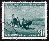 Postage stamp Romania 1957 Oxcart, by Nicolae Grigorescu — Stock Photo