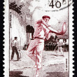 Stock Photo: Postage stamp France 1956 Basque Pelota, Jai Alai, Team Sport