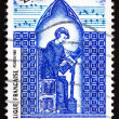 Stock Photo: Postage stamp France 1985 Adam de lHalle, Composer