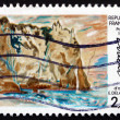 Постер, плакат: Postage stamp France 1987 Cliffs at Etretat by Eugene Delacroix
