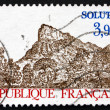 Postage stamp France 1985 View of Rock of Solutre — Stock Photo