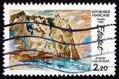 Postage stamp France 1987 Cliffs at Etretat, by Eugene Delacroix — Stock Photo
