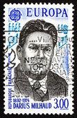 邮资邮票法国 1985年大流士 milhaud,作曲家 — 图库照片