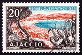 Postage stamp France 1954 Beach, Gulf of Ajaccio — Stock Photo