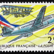 图库照片: Postage stamp France 1992 First Mail Flight from Nancy to Lunevi