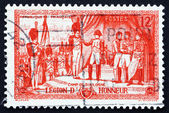 Porto stämpel Frankrike 1954 napoleon upphandlande Hederslegionen deco — Stockfoto