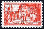 Postage stamp France 1954 Napoleon Awarding Legion of Honor Deco — Stock Photo