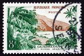 Estampilla francia 1957 vista del río sens, guadalupe — Foto de Stock