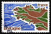 Postage stamp France 1977 Map of Brittany — Stock Photo