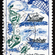 Postage stamp France 1982 Map of St. Pierre and Miquelon — Stock Photo