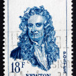 Stock Photo: Postage stamp France 1957 Sir Isaac Newton, Physicist and Mathem