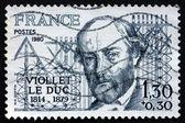 フレーム切手フランス 1980年ユージン viollet le duc、建築家 — ストック写真