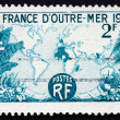 Postage stamp France 1945 World Map Showing French Possessions — Stock Photo