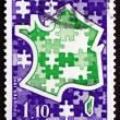 Stock Photo: Postage stamp France 1978 Stylized Map of France