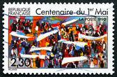 Estampilla del día del trabajo francia 1990, centenario — Foto de Stock