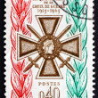 Stock Photo: Postage stamp France 1965 Croix de Guerre Medal
