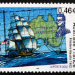 Stock Photo: Postage stamp France 2002 Map of Australiand Ship