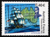 Postage stamp France 2002 Map of Australia and Ship — Stock Photo