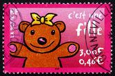 Affrancatura bollo francia 2001 è una ragazza, annuncio — Foto Stock