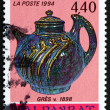 Stock Photo: Postage stamp France 1994 Stoneware, c.1898, Pierre-Adrien Dalpa